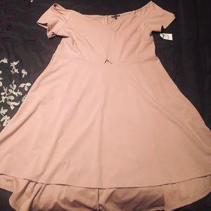 Off shoulder, hi low pink skater dress